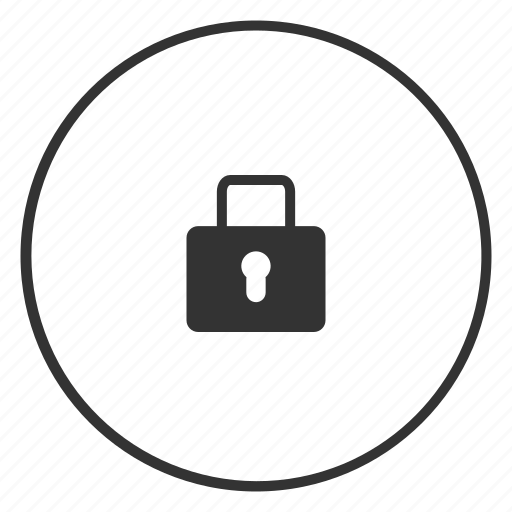 circle, closed, key, lock, password, protection, security icon icon