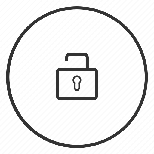 circle, closed, key, lock, login, open, unlocked icon