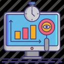 analytics, economy, real, time icon