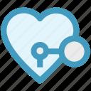 circus, heart, heart lock, key, keyhole, love, secret feelings icon