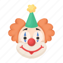circus, clown, emoji, expression, face, make-up, smile icon