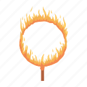 circus, equipment, fiery, jump, performance, ring, trick icon