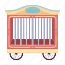 animal, cage, circus, delivery, transportation, vehicle, wagon icon
