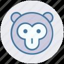 baboon face, cartoon animal, circus, macaque, monkey, monkey face icon