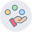 balls, circus, circus performance, hand, juggling, juggling clown icon