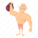 arm, athlete, athletic, cartoon, circus, design, strongman icon