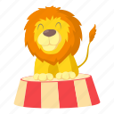act, actor, animal, cartoon, circus, design, lion icon