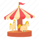 amusement, art, carnival, carousel, cartoon, design, horse icon
