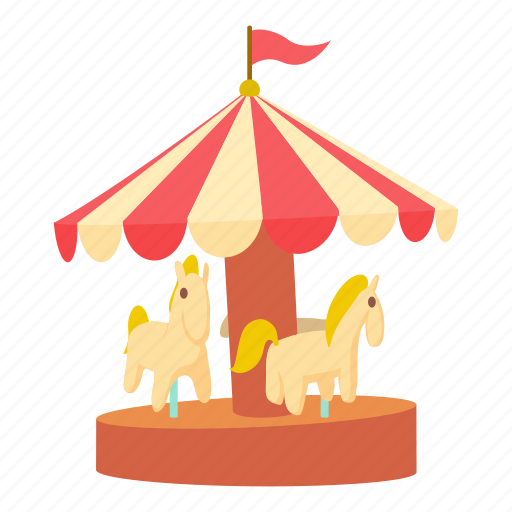 amusement, art, carnival, carousel, cartoon, design, horse icon