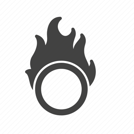 circle, circus, fire, hoop, jumping, man, ring icon