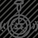 bicycle, bike, circus, cycle, line, unicycle, wonderland icon
