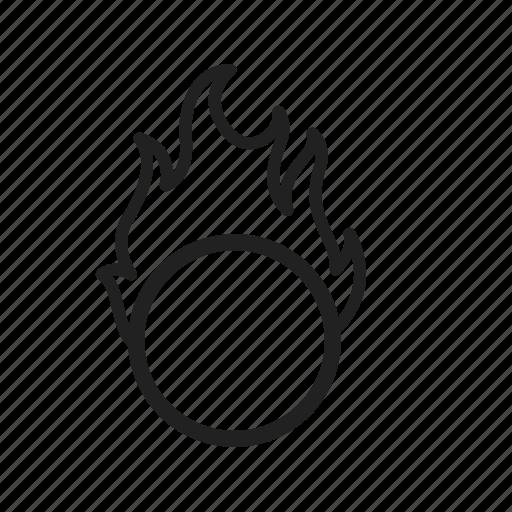circle, circus, fire, hoop, jumping, man, ring icon