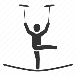 acrobatic, circus, funambulist, performance, plate spinning, tightrope walker, trapeze icon