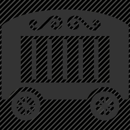 cage, cart, circus cart, cirque, show, transportation icon