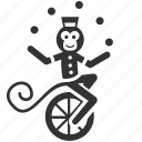 animal training, circus, juggling, monkey, performance, show, unicyclist icon