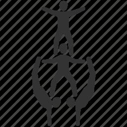 acrobats, balance, circus, funambulist, group, gymnastic, show icon