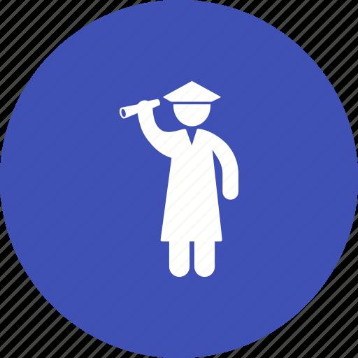 academic, graduate, graduation, hat, student, students, university icon