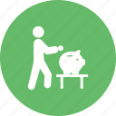 bank, banking, business, investment, man, money, saving icon