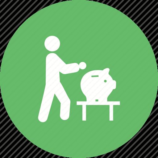 bank, banking, business, investment, man, money, saving icon