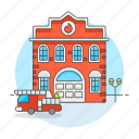 1, building, city, department, engine, fire, firefighting, fireman, house, station, truck icon