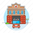 2, building, city, department, engine, fire, firefighting, fireman, house, station, truck icon