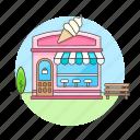 bench, building, city, cream, frozen, gelato, ice, parlor, serve, shop, soft, sorbet, yogurt icon