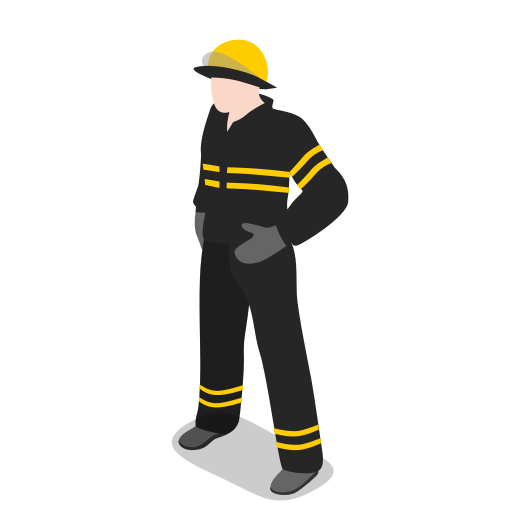 firefighter, fireman, male, man, people, rescuer, standing icon