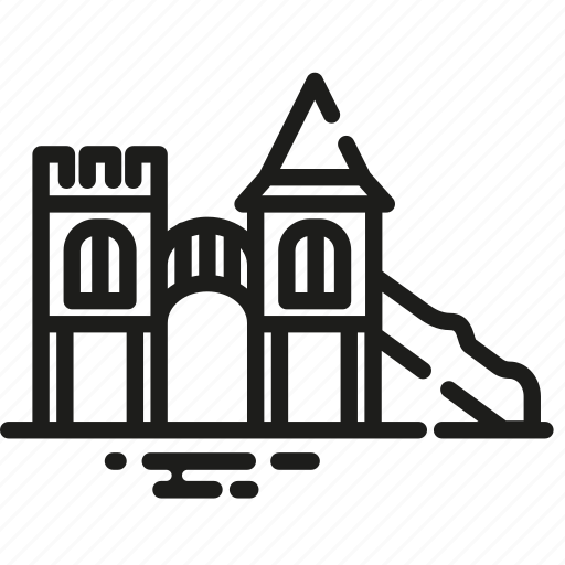 castle, children, city, entertainment, park, playground, recreation icon