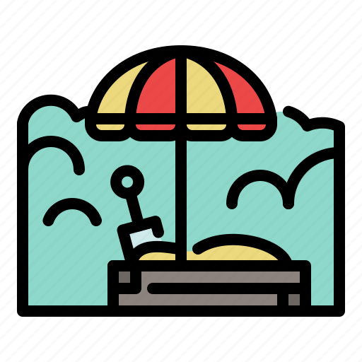 kids, outdoor, park, play, playground, sandbox, umbrella icon