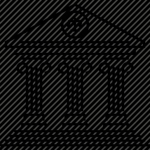 Building, court, justice, architecture, judge, bank icon