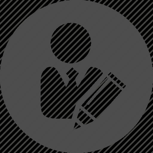 change, copywriter, edit, editor, modify, pen, pencil, profile, properties, tag, user, write icon