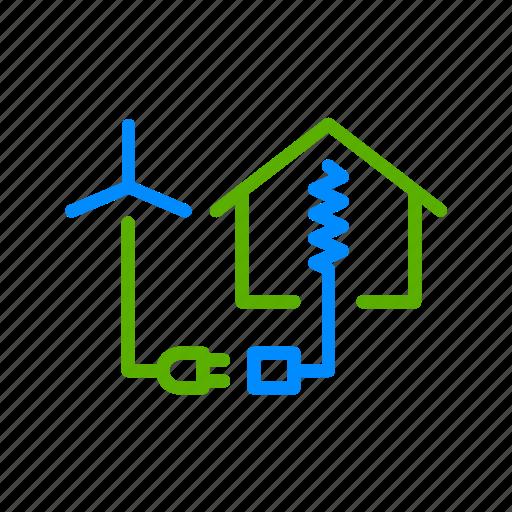 clean, energy, generation, house, power, turbine, wind icon