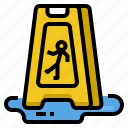 caution, cleaning, floor, sign, slippery, wet icon