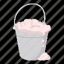 bucket, cartoon, clean, equipment, foam, tool, work