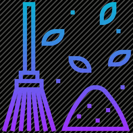 broom, clean, dust, leaf, wash icon