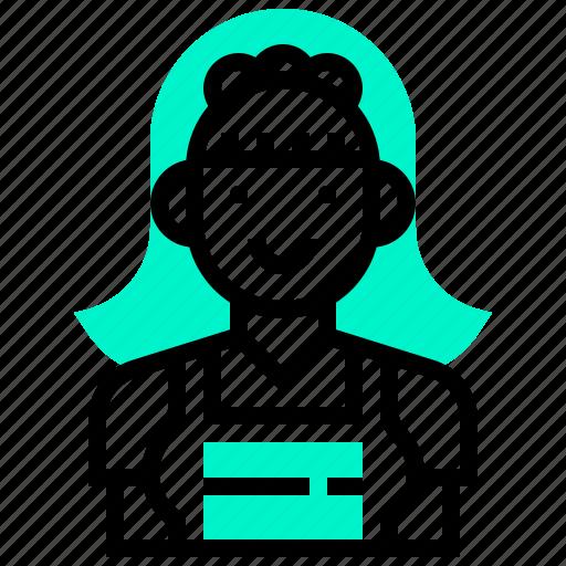 charwoman, female, maid, service, uniform icon