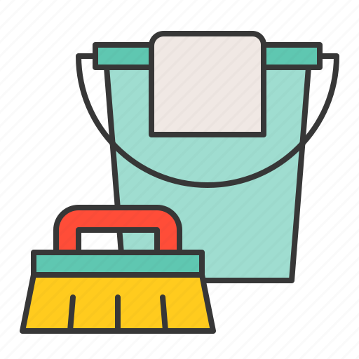 brush, bucket, clean, cleaning, cleaning equipment, equipment, housekeeping icon