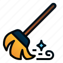 broom, broomstick, brush, cleaning, dust, housework, sweep icon