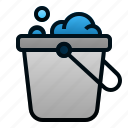 bucket, cleaning, housework, soap, tool icon