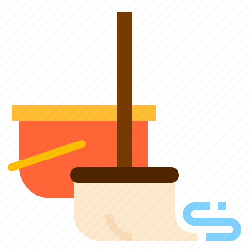 bucket, cleaning, mop icon