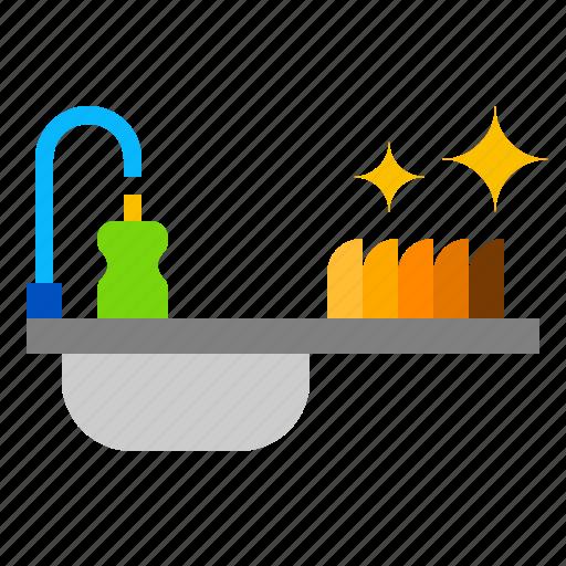 dish, sink, washing icon