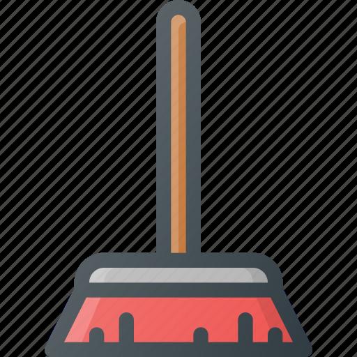 broom, broomstick, clean, cleaning, housekeeping, interior, sweep icon