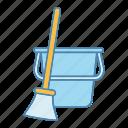 broom, bucket, cleaning, equipment, floor, supply, sweeping icon