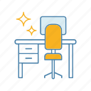 clean, cleaning, desk, home, table, tidy, workplace icon