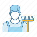 cleaner, cleaning, janitor, occupation, profession, service, sweeper icon