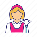 chambermaid, cleaner, cleaning, housekeeping, housemaid, maid, service icon