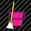 broom, bucket, cleaning, equipment, floor, supply, sweeping