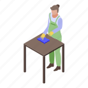 business, cartoon, cleaning, family, isometric, table, woman
