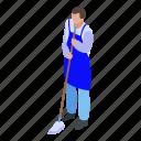 business, cartoon, floor, isometric, man, mop, wash