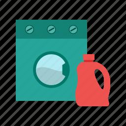 bottle, clean, clothes, detergent, laundry, machine, wash icon